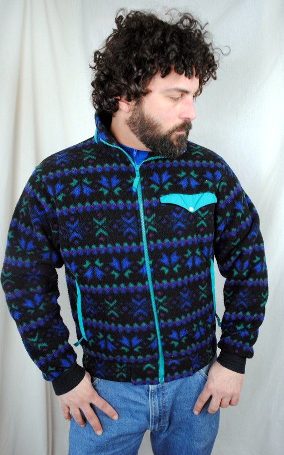 Vintage 80s LL Bean Geometric Southwest Print Fleece Pullover