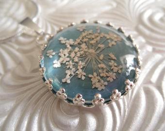 Queen Anne's Lace Beneath Glass Pendant Atop Ocean SeaFoam Blue-Green Pressed Flower Pendant-Nature's Art-Symbolizes Peace-Gifts Under 25