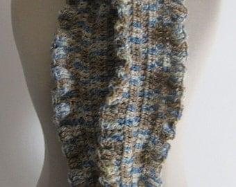 Ruffle Scarf, Handmade, Crochet,