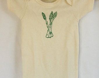 Organic Baby Bodysuit or Toddler Tee, Asparagus Print, American Made