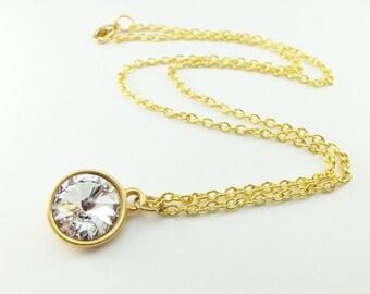 Clear Diamond Necklace April Birthstone Necklace Gold Jewelry Modern Clear Necklace Swarovski Crystal Jewelry