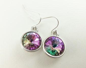 Pastel Easter Jewelry Easter Egg Earrings Sterling Silver Crystal Drop Earrings Light Rainbow Dangle Earrings Spring Jewelry
