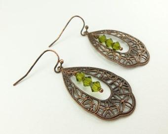 Olive Dangle Earrings Copper Filigree Drop Earrings Antiqued Victorian Style Green Dangle Earrings Swarovski Crystal