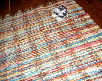 Happy Colors Handwoven Rag Rug - Old Fashioned Hit and Miss Rag Rug in Bright Colors