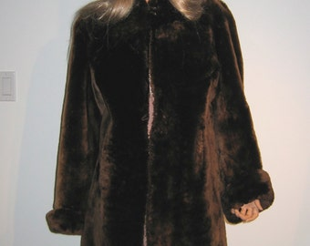 Vintage 1940's Sheared Lamb FUR coat. Soft Brown Fur.  Warmth and Glamour.