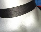 "Black Leather Choker -- Plain and Simple 3/4"" (20mm) Adjustable"
