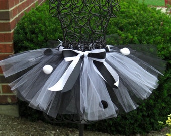 New Years Eve tutu- Girls Black and White tutu-Jazz dance tutu-  BLACK TIE GALA----Polka Dot tutu, Holiday Tutu Skirt-jack skellington