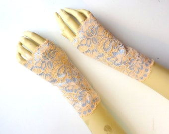 Fingerless Lace Gauntlets- Pale Peach Amythest Purple Floral - Wedding Gothic Victorian Tribal Belly Dance Noir Bridal xs/sm