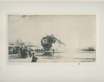 Torpedoed Sussex,1924 (1916), Vintage Print (8) from an Etching by James McBey,