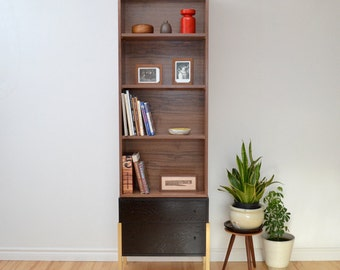 Bookcase walnut oak Bookshelf brass legs