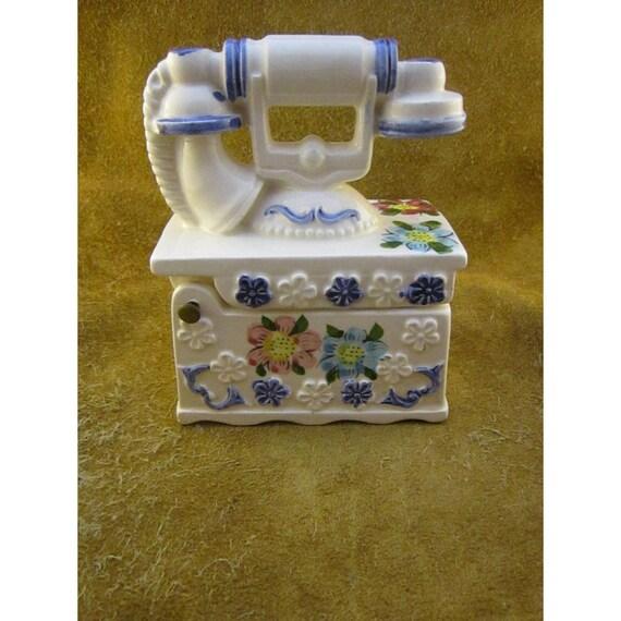 image vintage porcelain ceramic telephone trinket box old fashioned
