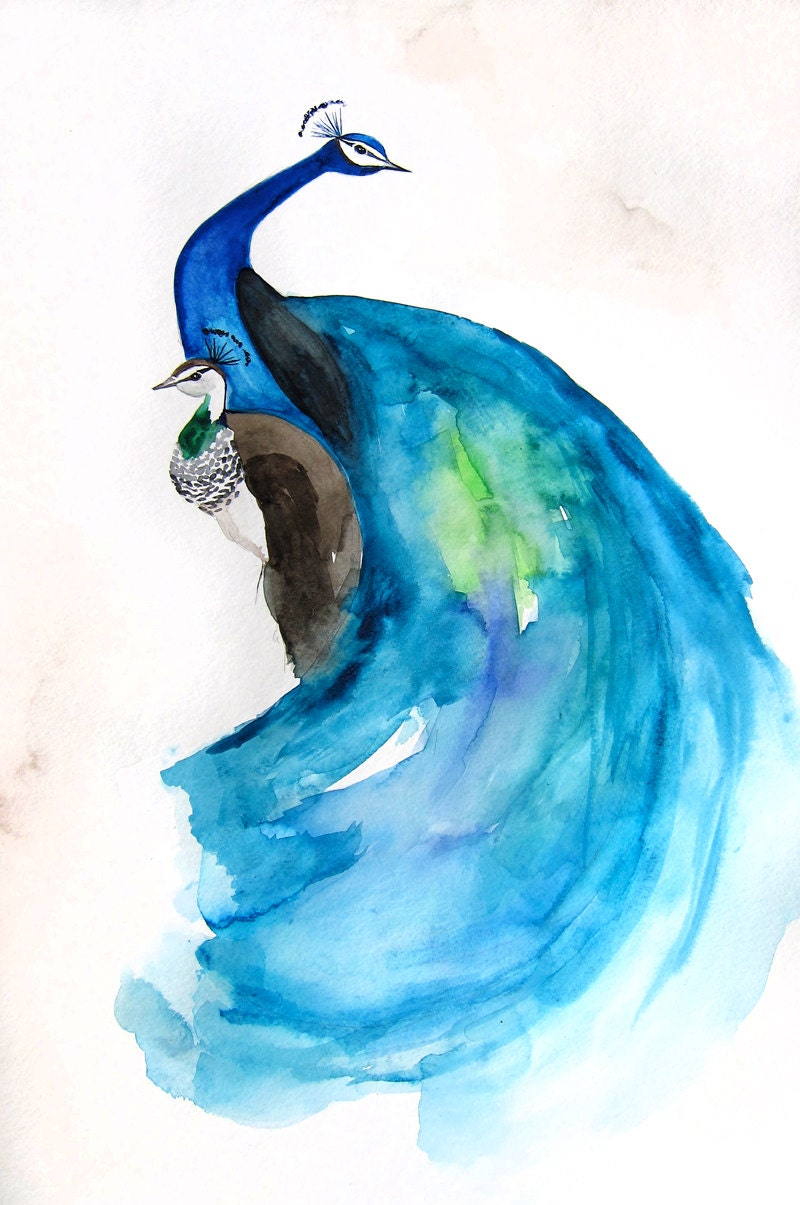 RESERVED Final Payment Peacock Peahen Painting Original
