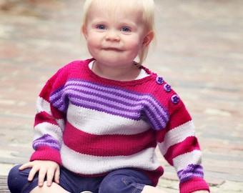 Baby Girl Sweater -- JENIFER STREET -- Pink, Purple, and Gray