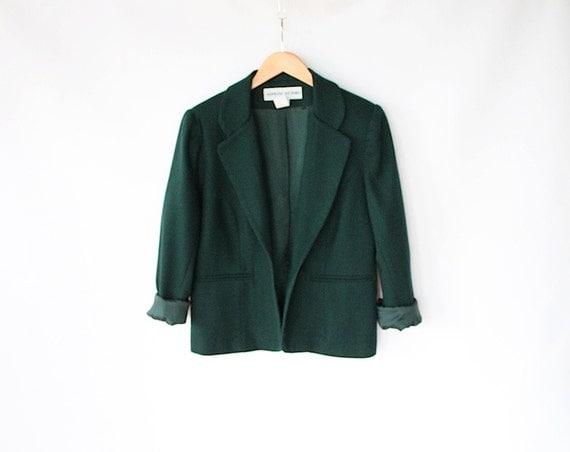 Vintage 80s Dark Emerald Green Fitted Wool Blazer //