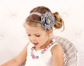 Gray Flower Headband, Velvety Flower w/ Pearl & Crystal Center Silver Headband or Hair Clip, The Eva, Baby Toddler Child Girls Headband