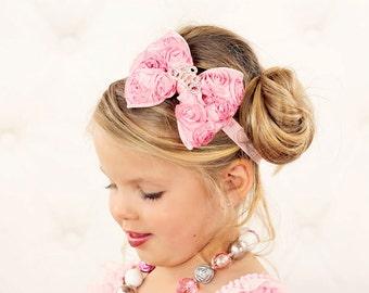 Pink Princess Hair Bow - Pink Satin Rosette Hair Bow w/ Crystal Tiara Headband or Hair Clip - Virginia - Baby Toddler Child Girls Headband