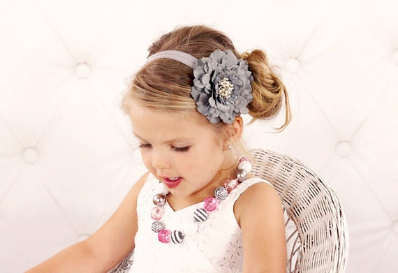 Gray Flower Headband, Velvety Flower w/ Pearl & Crystal Center Headband or Hair Clip, The Eva, Baby Toddler Child Girls Headband