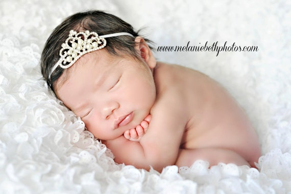 Baby Headband, Baby Tiara, Crystal  Pearl Tiara Headband, Princess Tiara, Princess