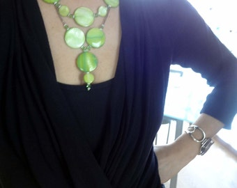 Statement Necklace, Bib, Lime Green Shell Circle Necklace, Bubble, Natural, Green, Pastel