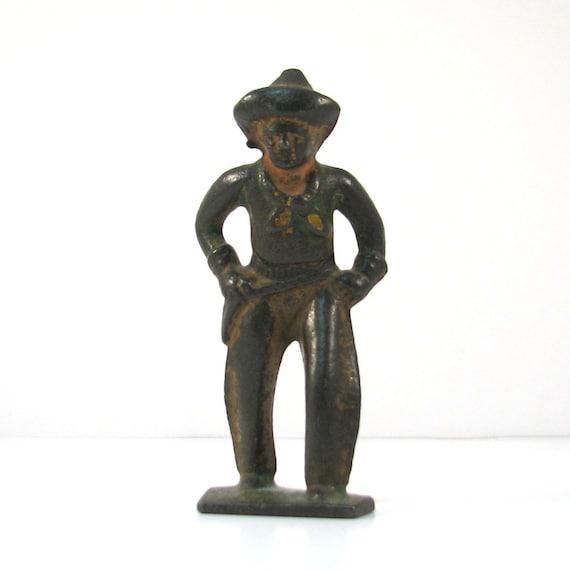 Vintage Cast Metal Cowboy Toy Figurine