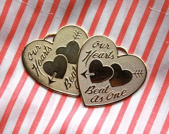 2 Vintage Brass Valentine Heart Pendants // Two Of Hearts // Our Hearts Beat As One