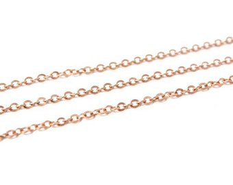 3 feet - Vintage Raw Copper  - Small Chain Flat Link 3mm x 3 mm - Unsoldered link