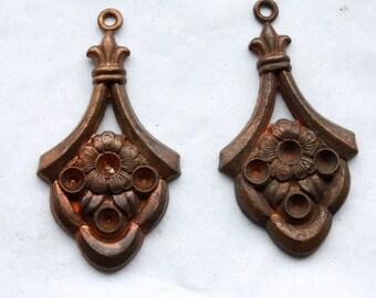 2 Vintage 1940s Antique Brass Art Nouveau Pendants // Edwardian Rhinestone Settings // Titanic Era Earrings
