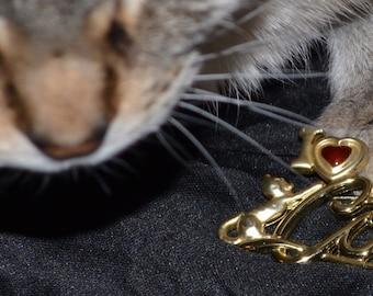 Vintage I Love Cats Brooch