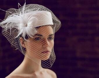 Pillbox Hat Bird Cage Veile - Vintage Pillbox Bridal Hat - Custom Bridal Hat Veil - Bridal Hat Birdcage Veil - Vintage Hat Veil