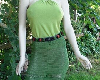 45% OFF Open Weave Skirt / Vintage Skirt / Vintage Swim Cover / 80s Skirt in Green with Denim Beaded Waist and Fringe Hem Size S New withTag