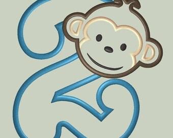 Mod Monkey Boy Applique Design with Number 2