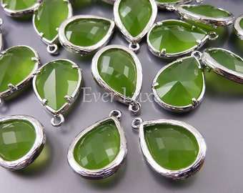 2 Unique peridot opal faceted glass pendants, tear drop glass beads for jewelry making 5060R-PEO