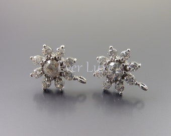 2 Clear crystal CZ Cubic Zirconia silver flower earrings, flower stud earring components, bridal jewelry 1717-BR