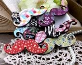 4Pcs Large Handmade Colorful Moustache Charms / Pendants (CWC16)