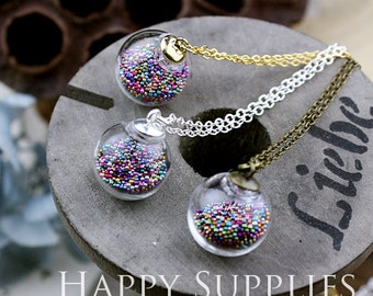 2.8 Per Set - 5 sets 16mm Small Clear Glass Globe Bottle Pendant Necklace (GB1604) - Big Sale