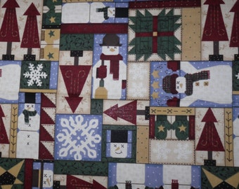 2 Yards of Christmas Fabric Quilting Fabric~Winter Snowmen by Leslie Beck~Cotton Fabric