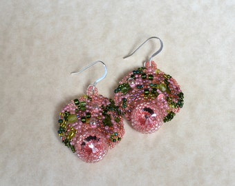 SALE!!!! Rose Garden freeform peyote seed beaded earrings multicolored. Art jewelry. Wedding, special occasion, prom