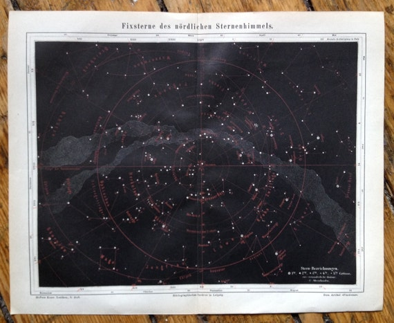 1894 ANTIQUE MILKY WAY lithograph star map original antique celestial astronomy print - black background