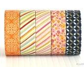 Washi Tape Orange Henna Stripe Floral Petal Chugoku ( CHOOSE ONE PATTERN)