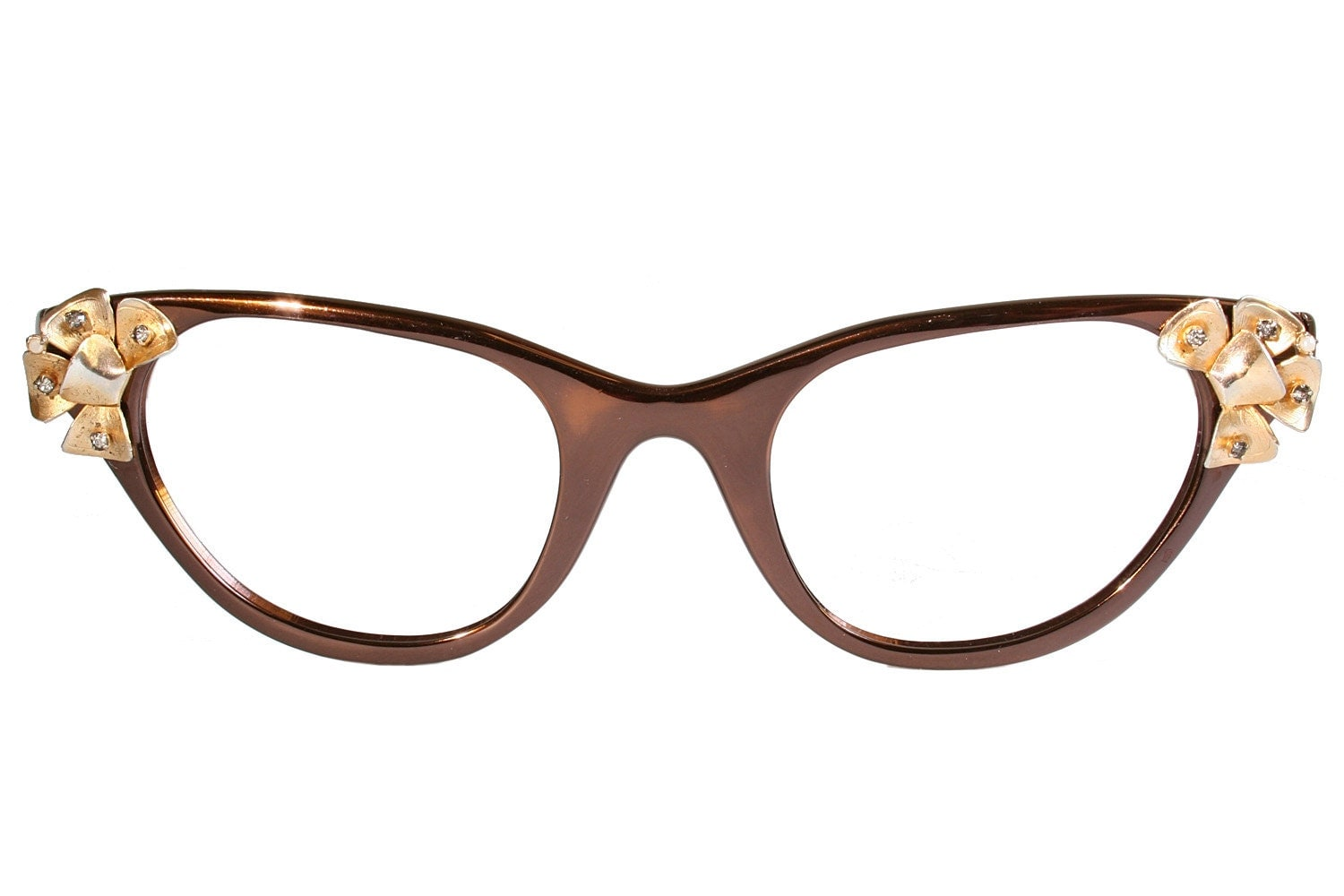 Glasses Frame Discoloration : Brown and Gold Tura Cat Eye Glasses