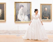 Princess Style Wedding Dress with Lace Sleeves