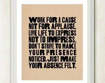 Live Life to Express - 8x10 inches on A4. Inspiring quote typography art poster print.