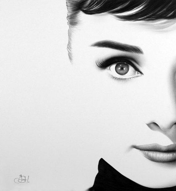 Audrey Hepburn  Fine Art Pencil Drawing Portrait Signed Print