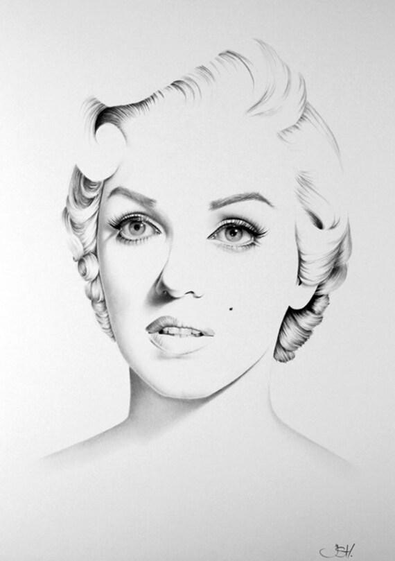 Marilyn Monroe Pencil Drawing Fine Art Portrait by ...