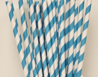 Paper Straws, 25 Sky Blue Striped Paper Straws, Drink Straws, Wedding Paper Straws, Mason Jar Straws, Blue Paper Straws, Birthday Party