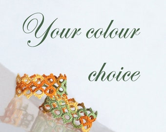 Tatted Lace Napkin Rings - Your choice of colour - Marie - Set of Two