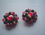Vintage Jewelry - Beaded Earrings - Red and Black, Button Style, Clip On