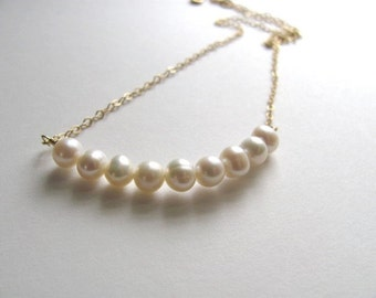Freshwater pearl necklace on delicate 14k gold plated chain, modern bridal jewelry, classic handmade wedding
