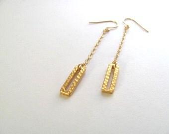 Gold geometric cutout rectangle earrings on 14k gold plate fixtures, dangle drop, geometric jewelry