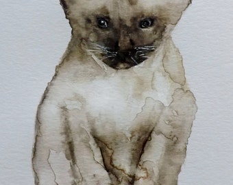 Original Watercolor Cat Painting- Siamese Kitten